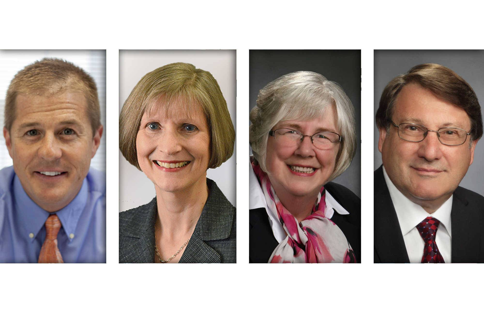 From left, Republican Christopher Christensen,  Democrat Diane Johnson, Democrat Kathleen Bergan Schmidt, and Republican Michael Walkup are candidates for District 3 of the McHenry County board.