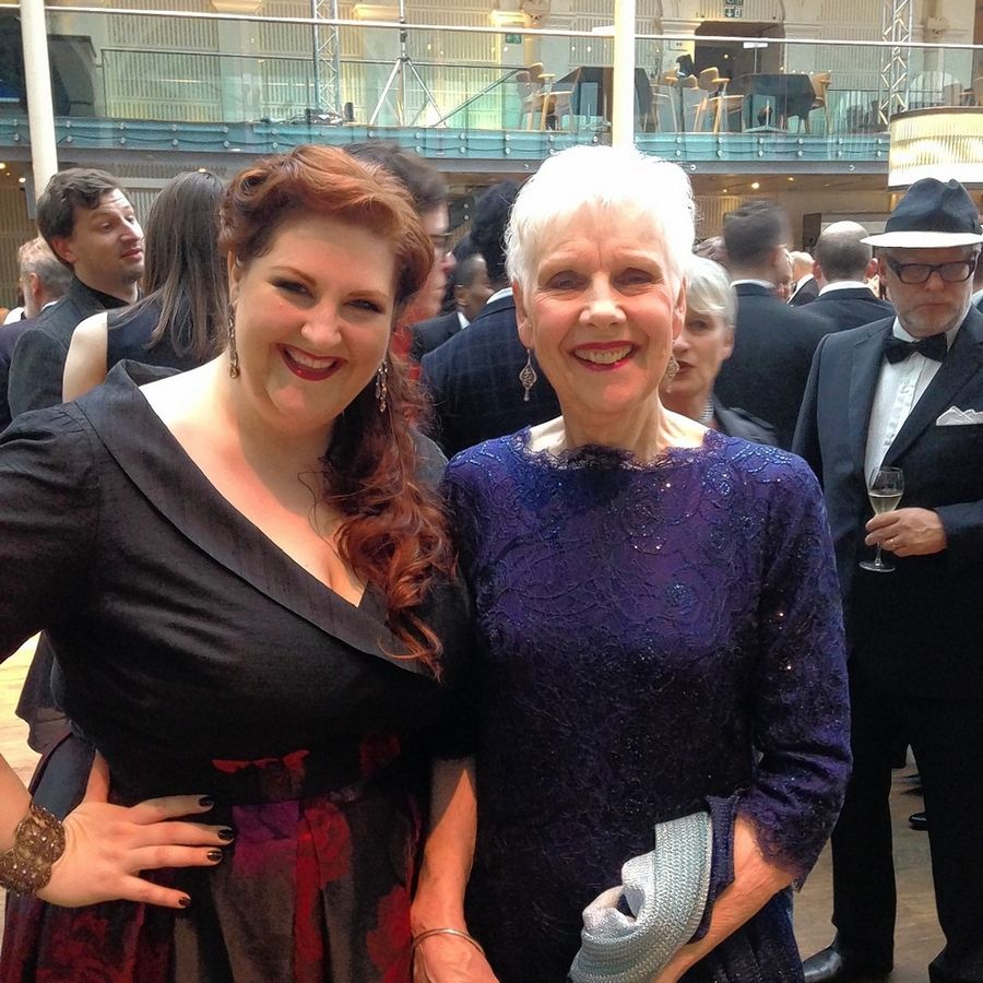 Opera soprano Tamara Wilson, left, meets opera legend Dame Felicity Palmer backstage at the Oliver Awards in London, England. Wilson, a Naperville native, this year has won the singing profession's prestigious Richard Tucker Award.