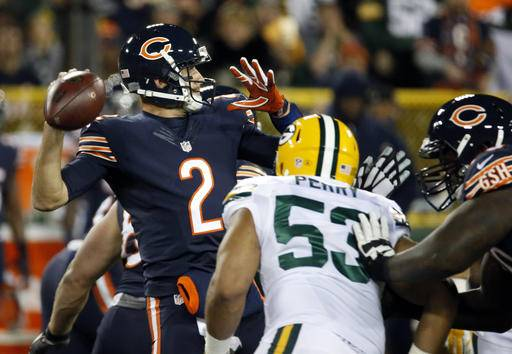 Bears QB Brian Hoyer breaks left arm