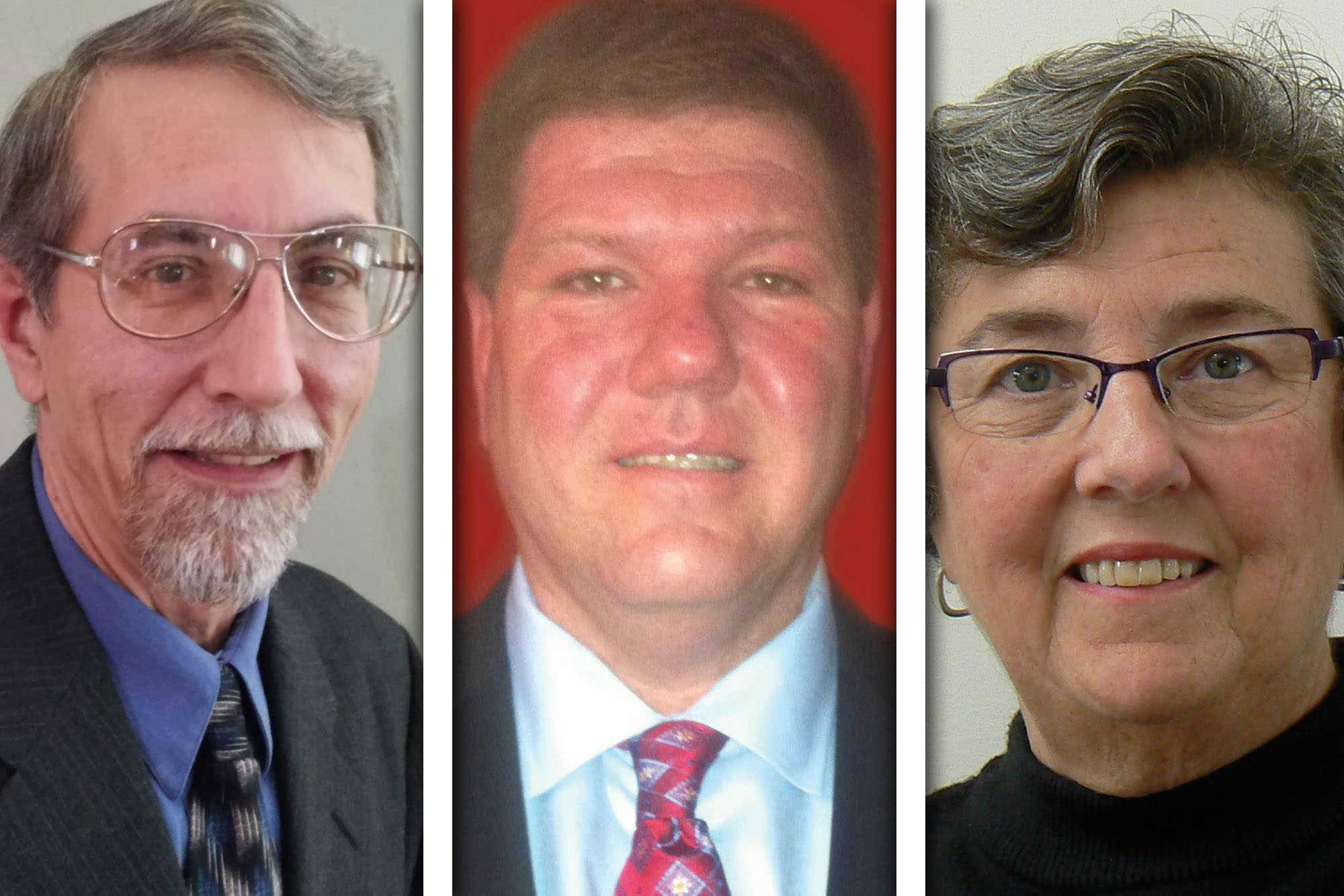 From left, Andrew Georgi, James Kearns, and Mary McCann are candidates for District 6 of the McHenry County Board.
