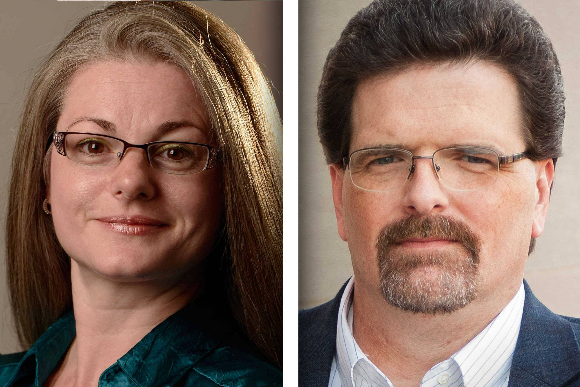 Democrat Lynn Gray, left, and Republican Joe Tirio are candidates for McHenry County recorder.