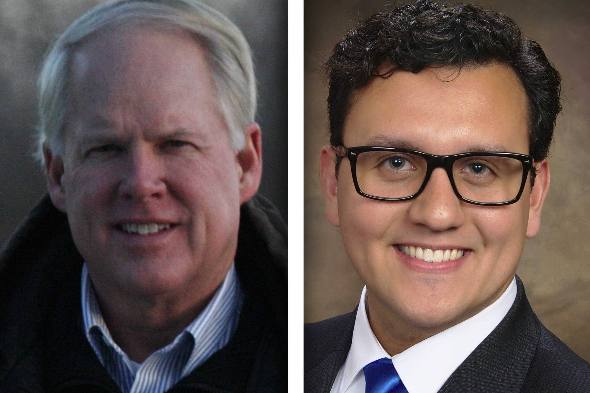 Republican Andrew Frasz, left, and Democrat Nicolas Jimenez are candidates for Kane County Board, District 18.