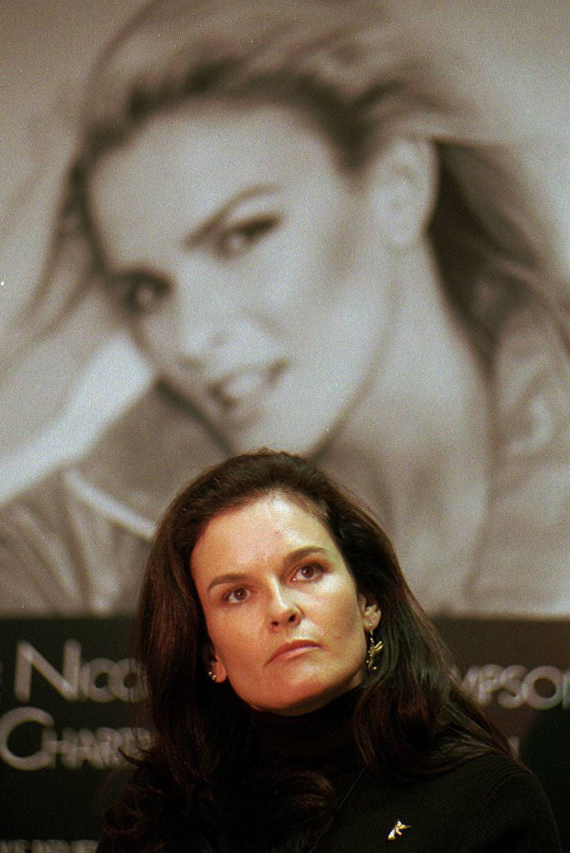Denise Brown, sister of Nicole Brown, speaks at a news conference about domestic violence in October 1995. Brown is in the suburbs this weekend for a WINGS fundraising event.