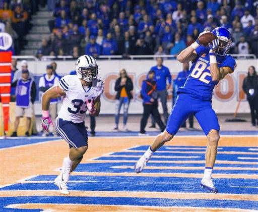 Boise state wide receiver thomas sperbeck 82 catches the ball for a