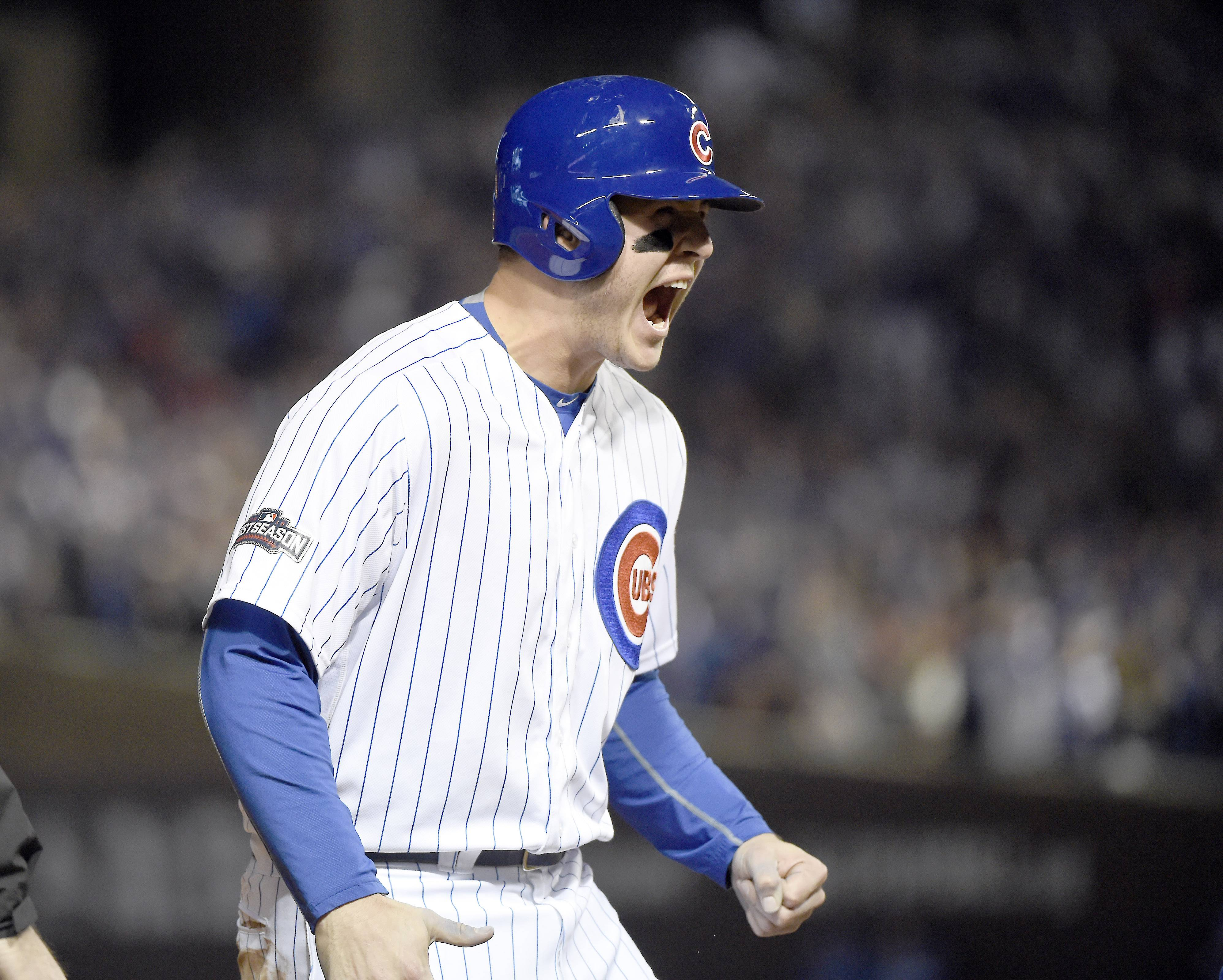John Starks/jstarks@dailyherald.com Cubs first baseman Anthony Rizzo reacts to his double in the first inning during Game 6 of baseball's National League championship series, Oct, 22 2016, at Wrigley Field in Chicago.