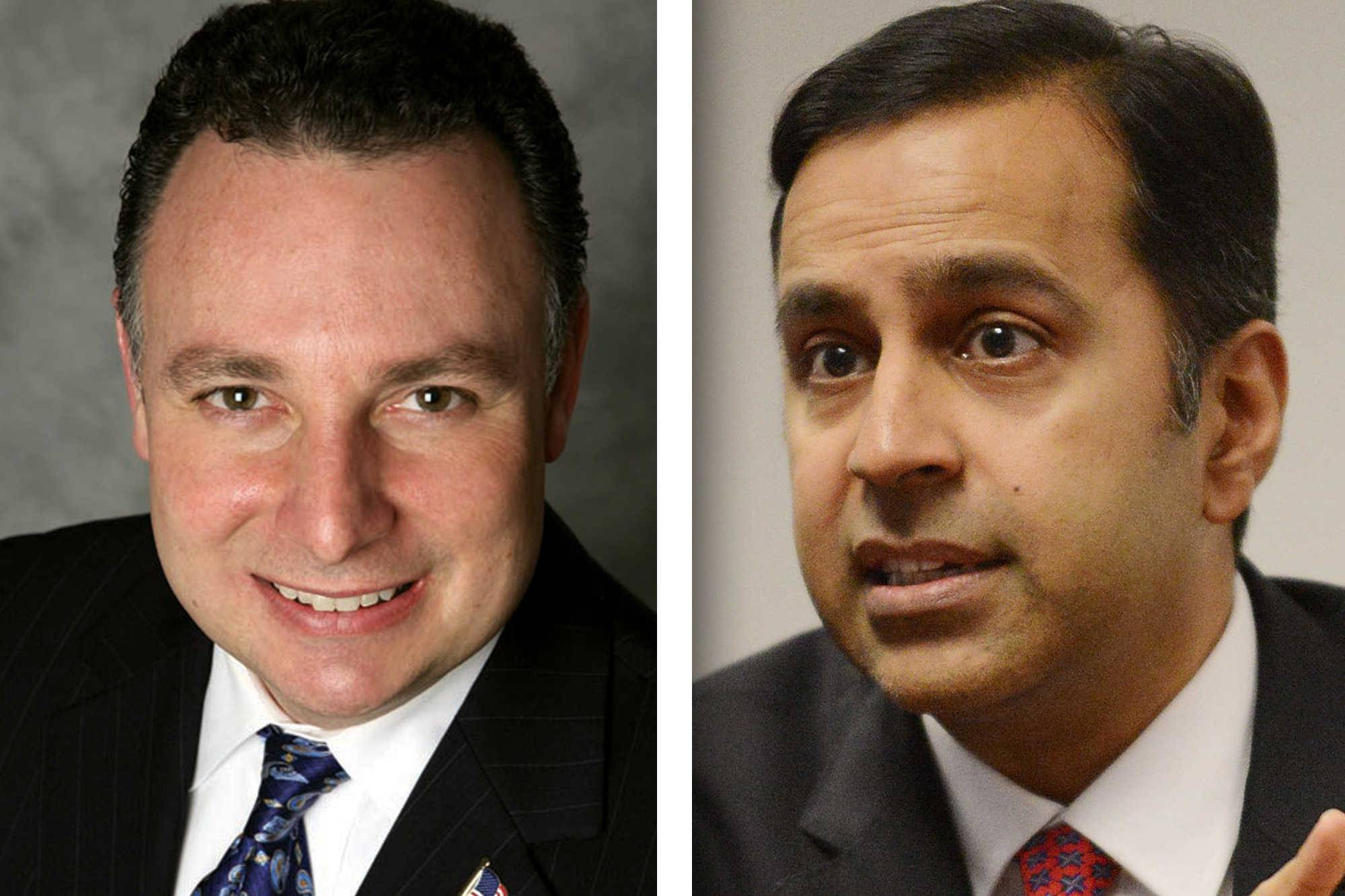 Republican Peter DiCianni of Elmhurst, left, and Democrat Raja Krishnamoorthi of Schaumburg are candidates for 8th Congressional District.