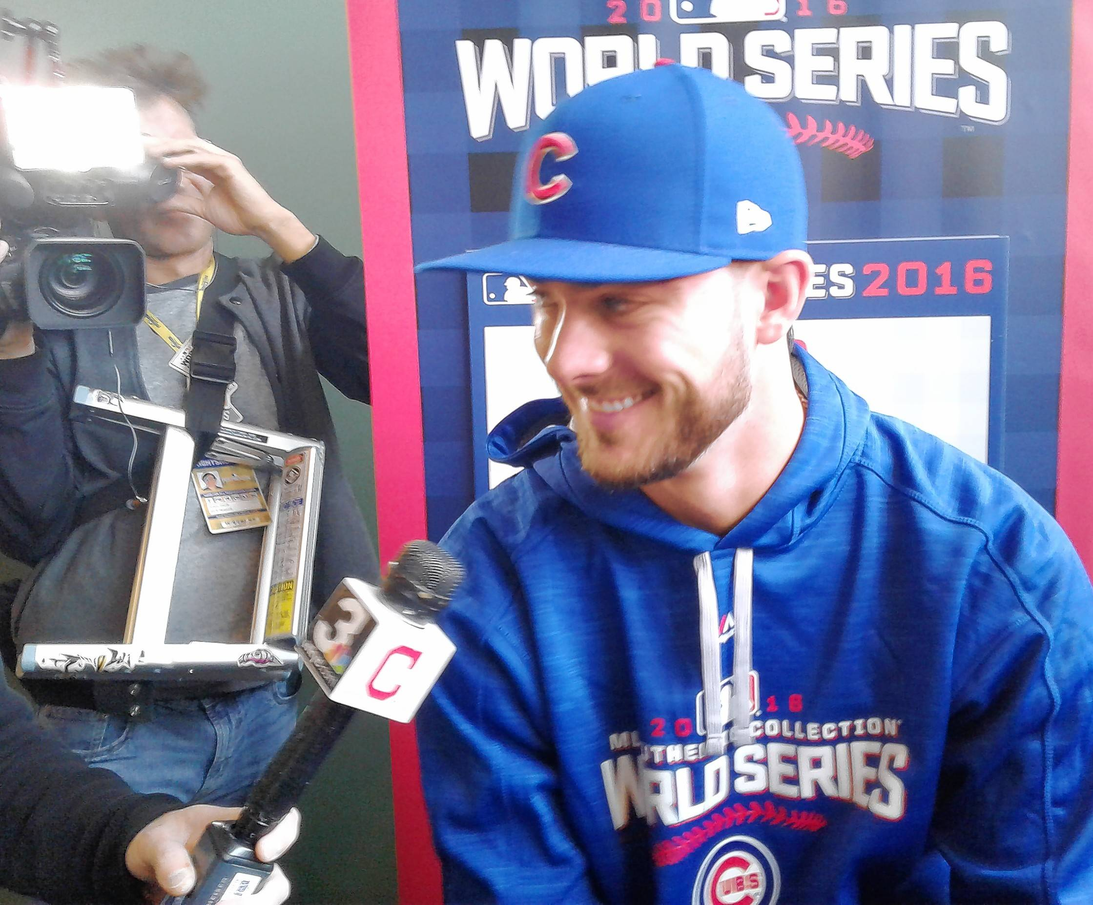 Chicago Cubs third baseman Kris Bryant takes part in media interviews on Monday in Cleveland as the Cubs prepare to play the Indians in Game 1 on Tuesday.