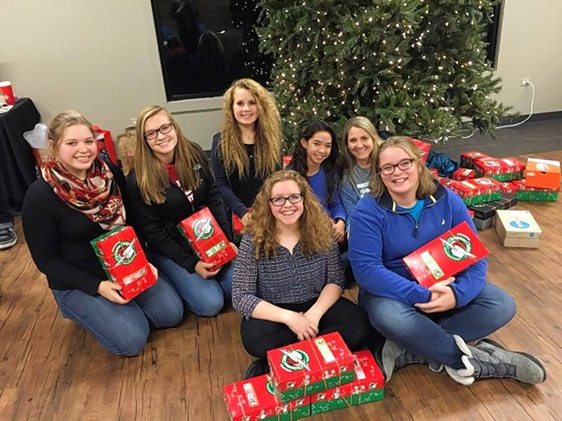 Members of the Heritage Church youth group in Lake Zurich held a packing party last year for Operation Christmas Child.