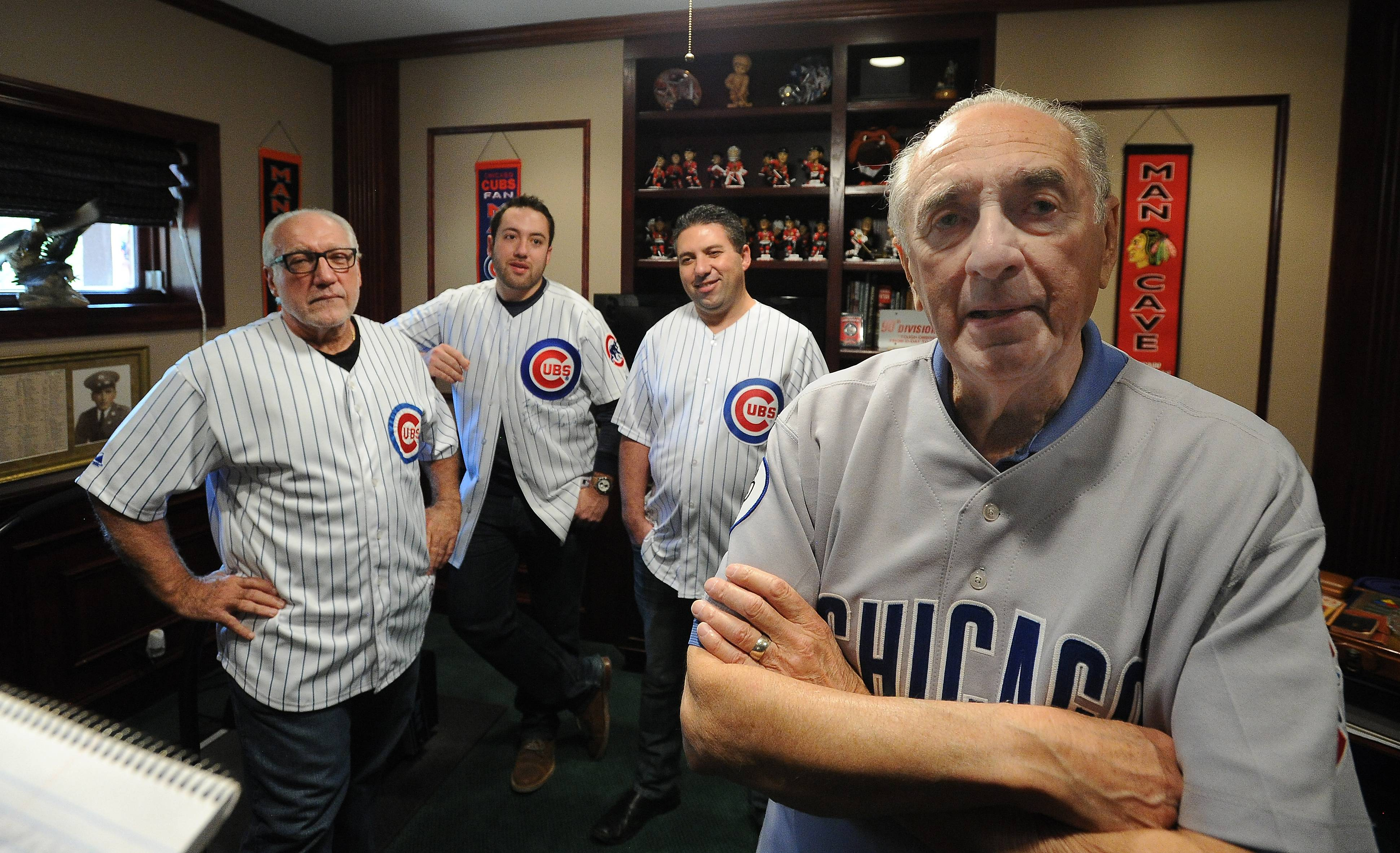 The Chicago Cubs are just another member of the family for the Pellettiere clan. Three generations of Pellettieres, from left, John Jr., his sons, Joe and John III, and Dan Pellettiere, are going to Game 4 at Wrigley Field, where Dan remembers watching the 1945 World Series.