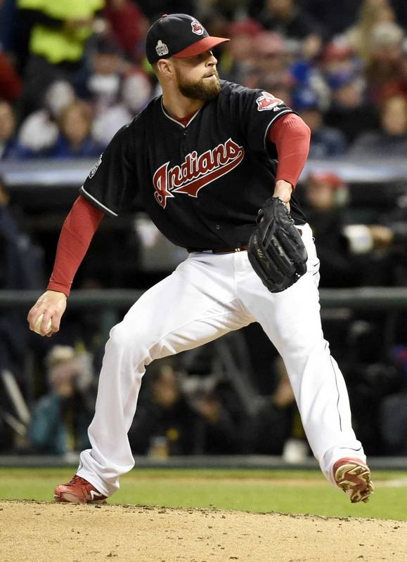 a15fbc31faa ... Cleveland Indians starting pitcher Corey Kluber (28) delivers during  Game 1 of the Major ...