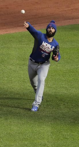 Chicago Cubs' Jake Arrieta throws before Game 1 of the Major League Baseball World Series against the Cleveland Indians Tuesday, Oct. 25, 2016, in Cleveland.
