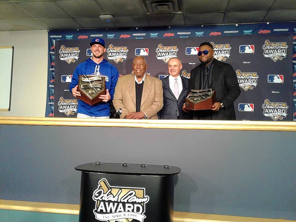 Chicago Cubs' Bryant humbly accepts Hank Aaron Award