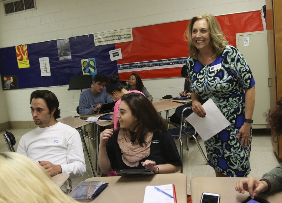 Glenbard South Principal Sandra Coughlin observes an AP class at the Glen Ellyn school.