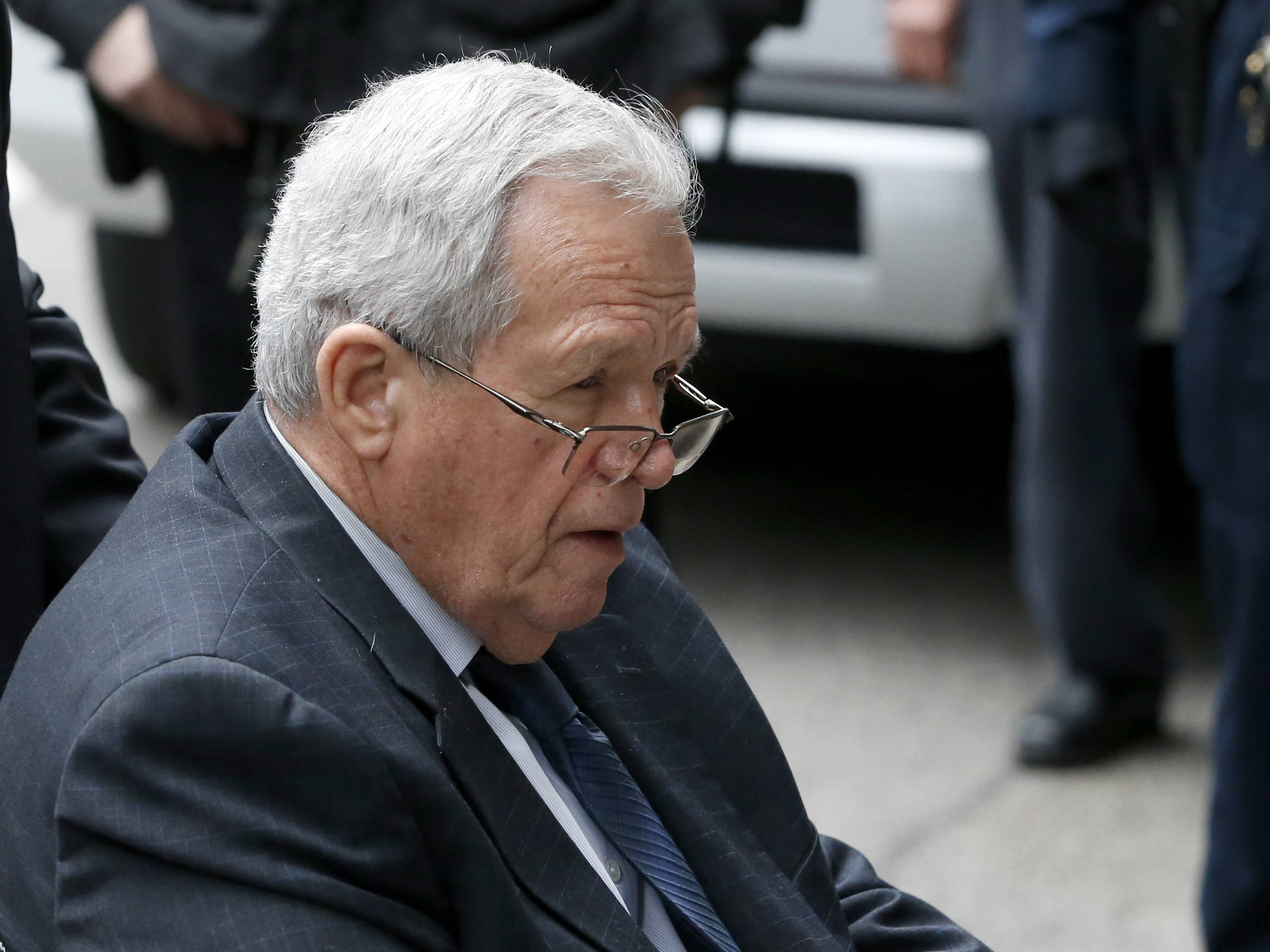 Former House Speaker Dennis Hastert leaves the federal courthouse in Chicago April 27.