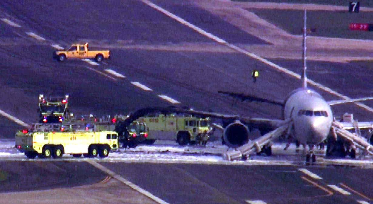 COURTESY OF ABC 7An uncontained engine failure ignited a fire that caused an American Airlines flight to be aborted before takeoff Friday afternoon at O'Hare International Airport, according to a preliminary finding by federal transportation officials. Officials said 161 passengers and nine crew members were evacuated.