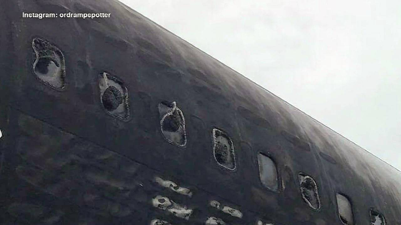 Pictures obtained by ABC 7 Chicago show how the windows began to melt after an American Airlines plane caught fire Friday.