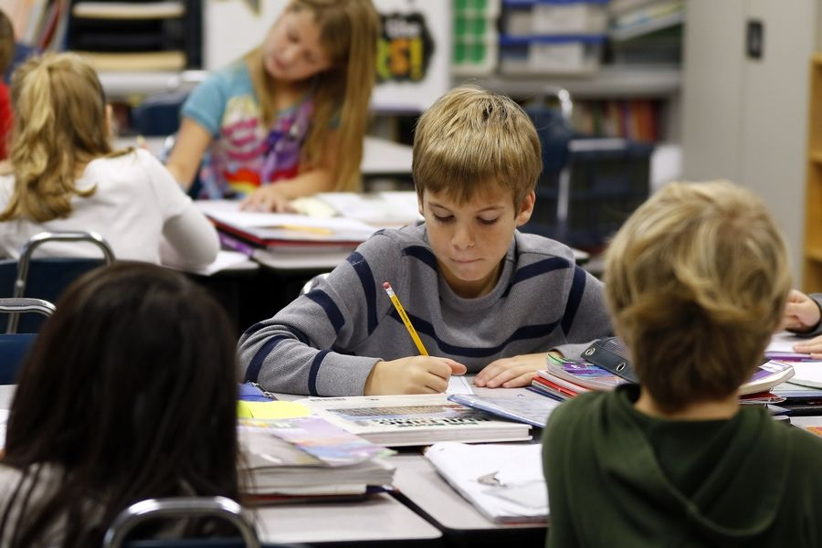 Dylan Walter, a third-grader at Eastview Elementary School in Algonquin, studies math problems Thursday. The school made the Daily Herald's top 10 list of high-achieving suburban elementary schools.