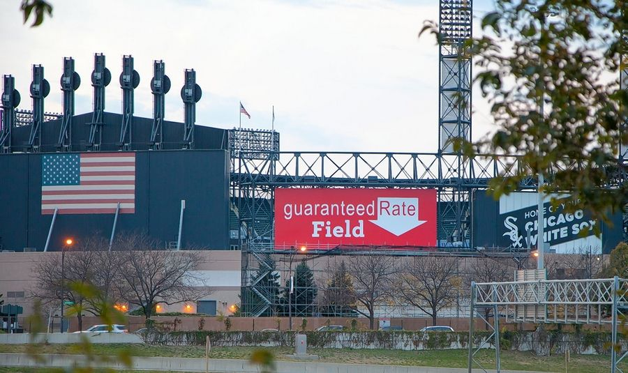 The giant down arrow on the Guaranteed Rate sign installed this week at the White Sox' stadium is here to stay, despite efforts by the team to substitute a home plate.