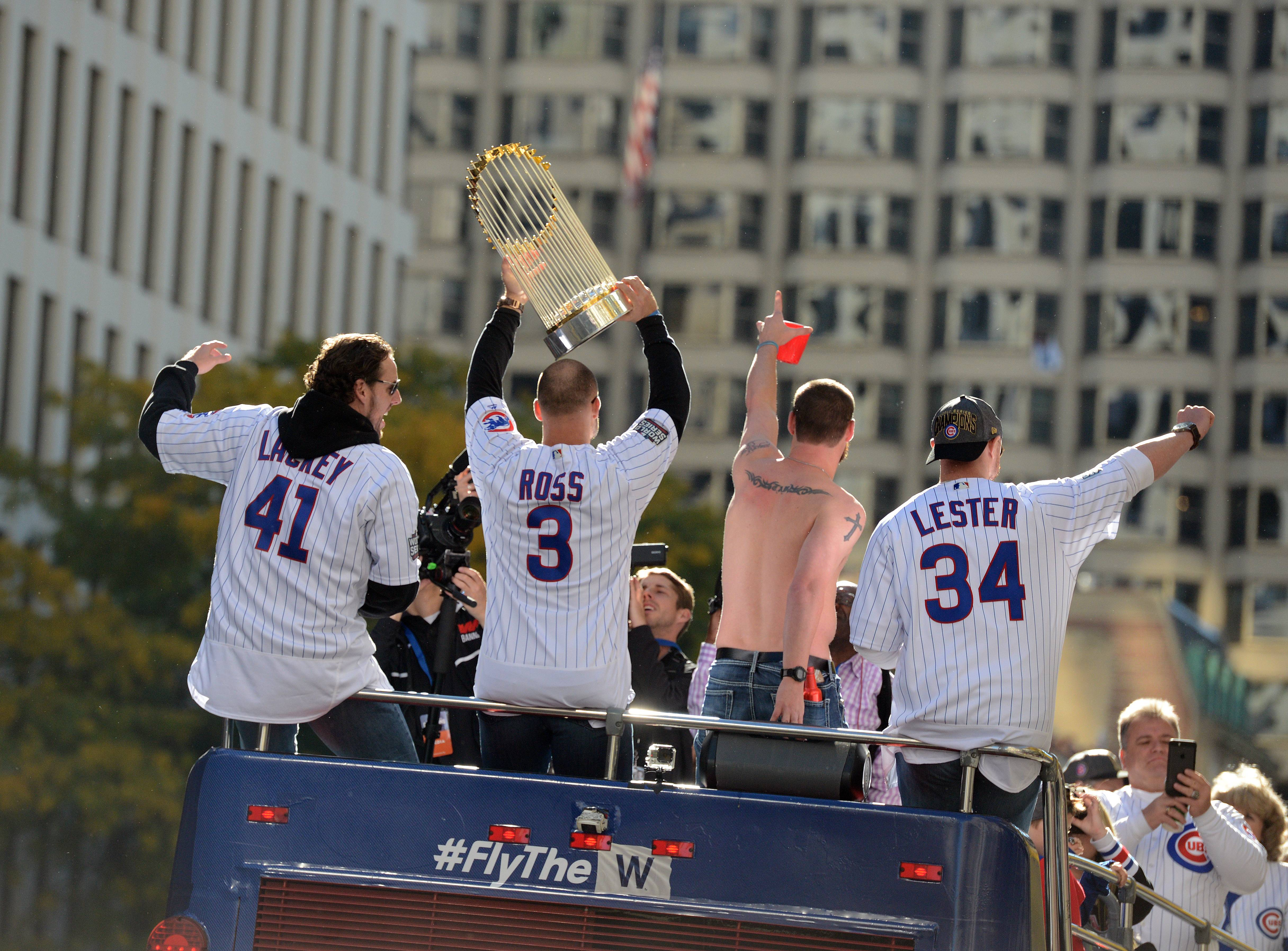 The Chicago Cubs celebrated their World Series win Friday with a parade that started at Wrigley Field and traveled down Michigan Avenue to end with a rally at Grant Park.