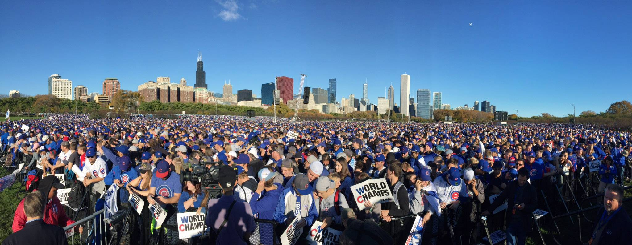 Blue is the color of the day as Cubs fans pack the rally site Friday morning in Chicago's Grant Park.