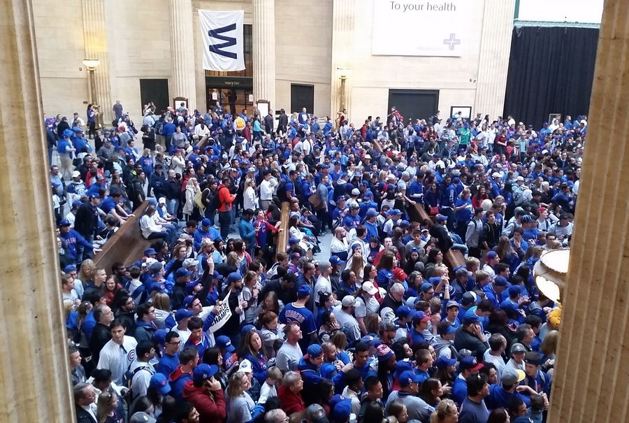 Union Station's Great Hall is packed with Cubs fans after Friday's victory parade and rally.