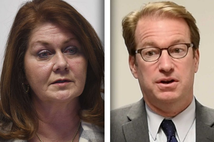 Democrat Amanda Howland, left, and Republican Peter Roskam are candidates in the 6th Congressional District.