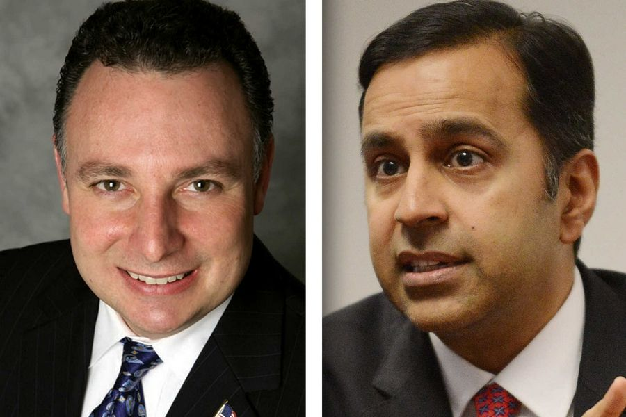 Republican Pete DiCianni, left, and Democrat Raja Krishnamoorthi are candidates in the 8th Congressional District.
