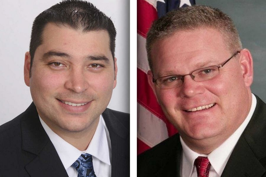 Democrat Tao Martinez, left, and Republican Rob Russell are candidates for Kane County coroner.