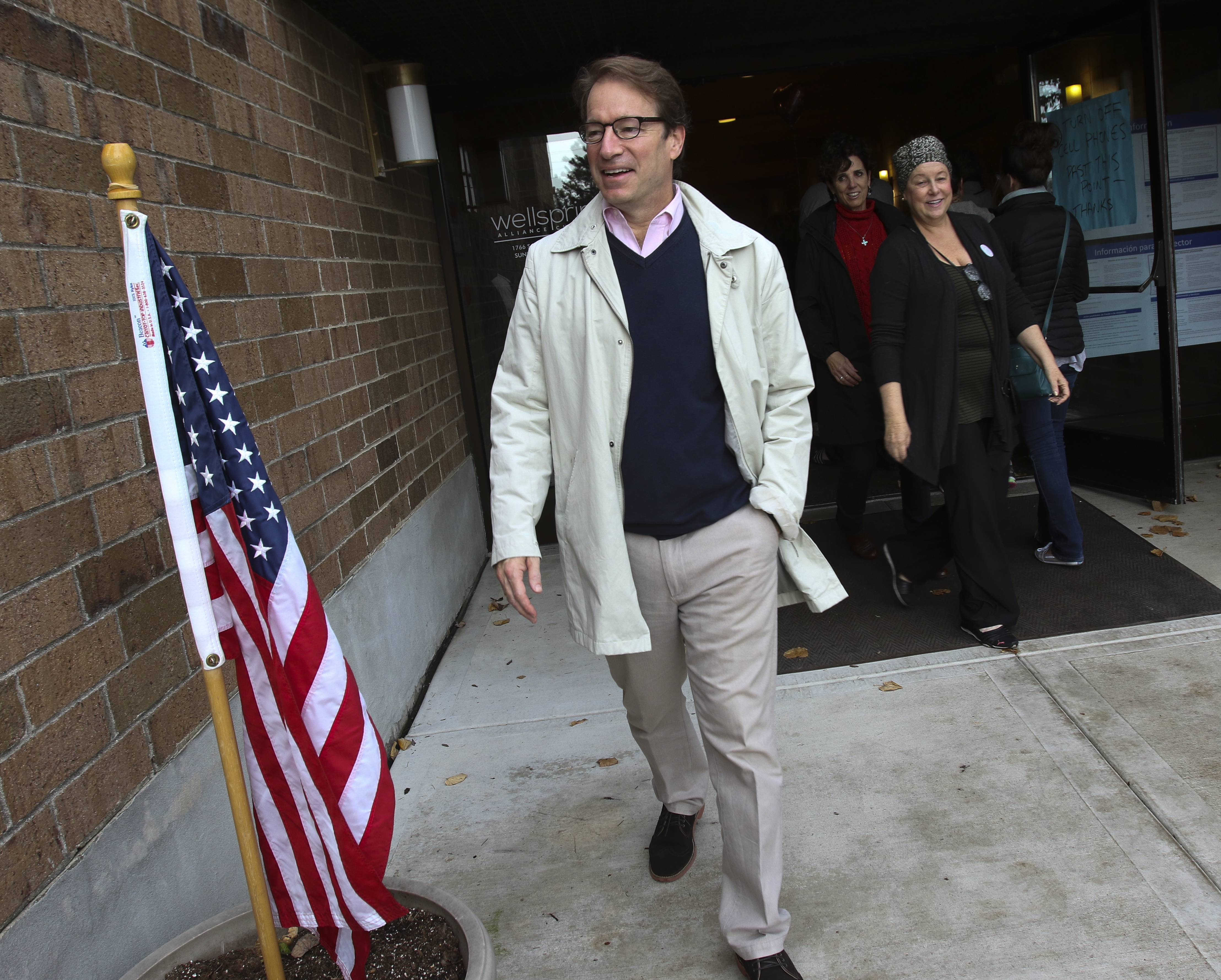 U.S. Rep. Peter Roskam, pictured after voting Tuesday in Wheaton, won his re-election bid against Democratic challenger Amanda Howland.