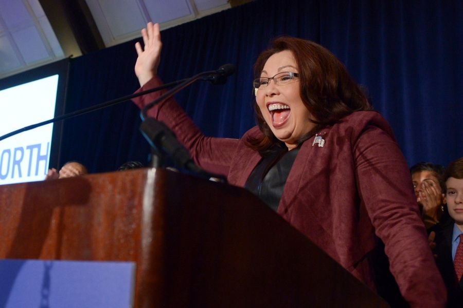 Mark Black/mblack@dailyherald.comRep. Tammy Duckworth of Hoffman Estates thanks her supporters at the JW Marriott in Chicago after winning the Illinois Senate race against incumbent Mark Kirk of Highland Park.