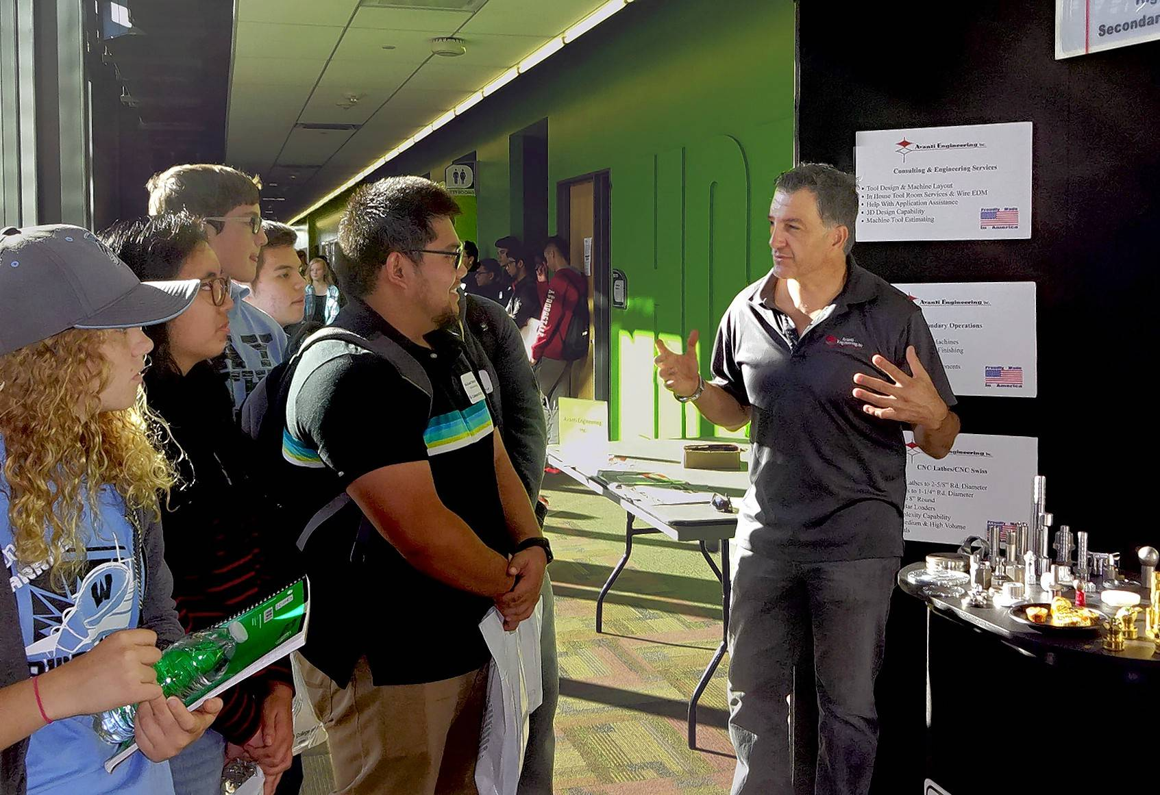 Nick Bratta of Avanti Engineering in Glendale Heights talked to high school students about opportunities in the precision manufacturing industry at the recent Manufacturing and Engineering Technology Expo at College of DuPage.
