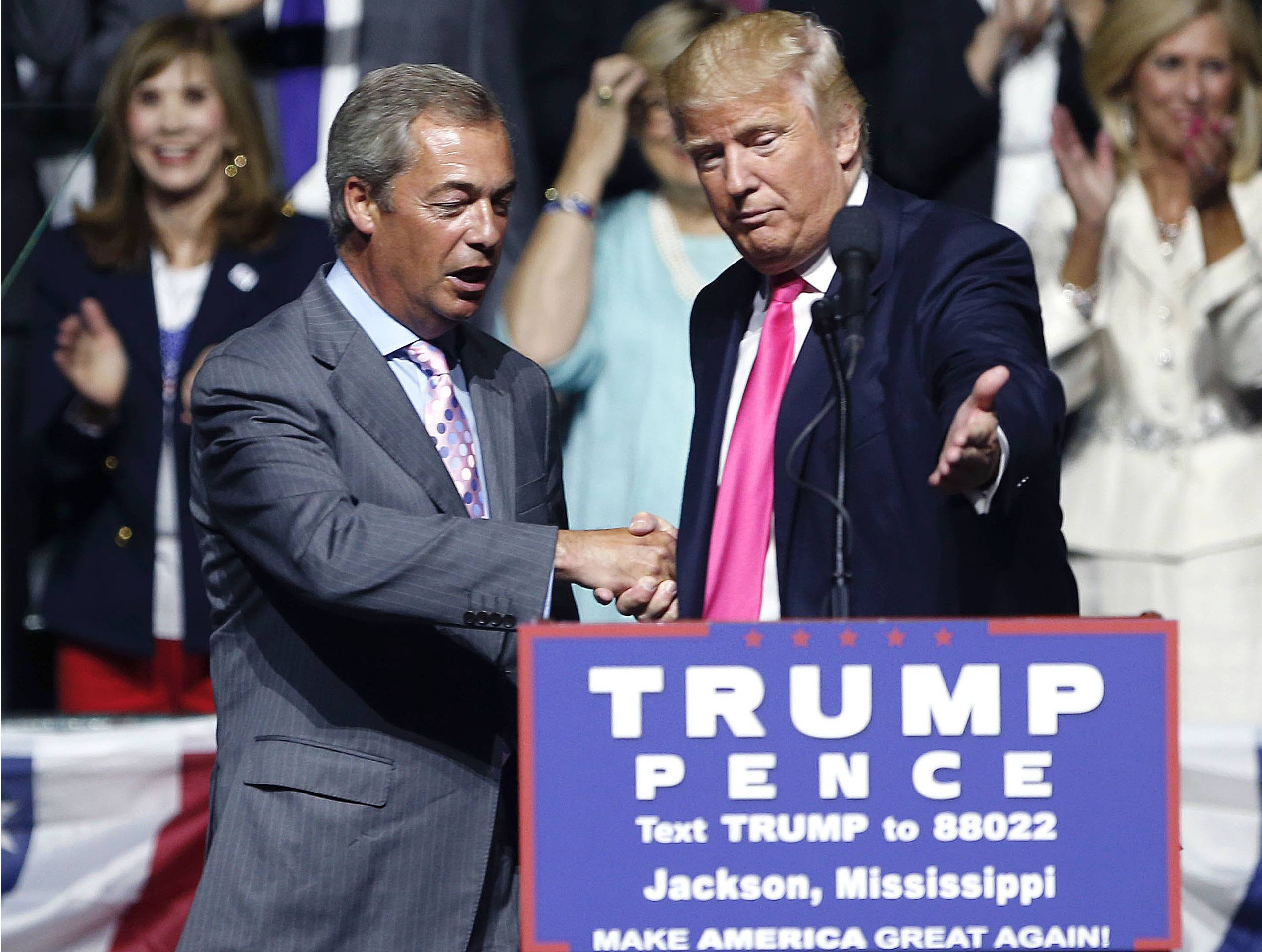 Donald Trump, right, welcomes pro-Brexit British politician Nigel Farage, to speak at a campaign rally in Jackson, Miss. Britain's vote to leave the European Union was a major shock to the global political system. But in a year of political earthquakes, it has just been trumped. Like Brexit, Donald Trump's victory over Hillary Clinton in the U.S. presidential election was driven by voters turning against established order and mainstream politicians.