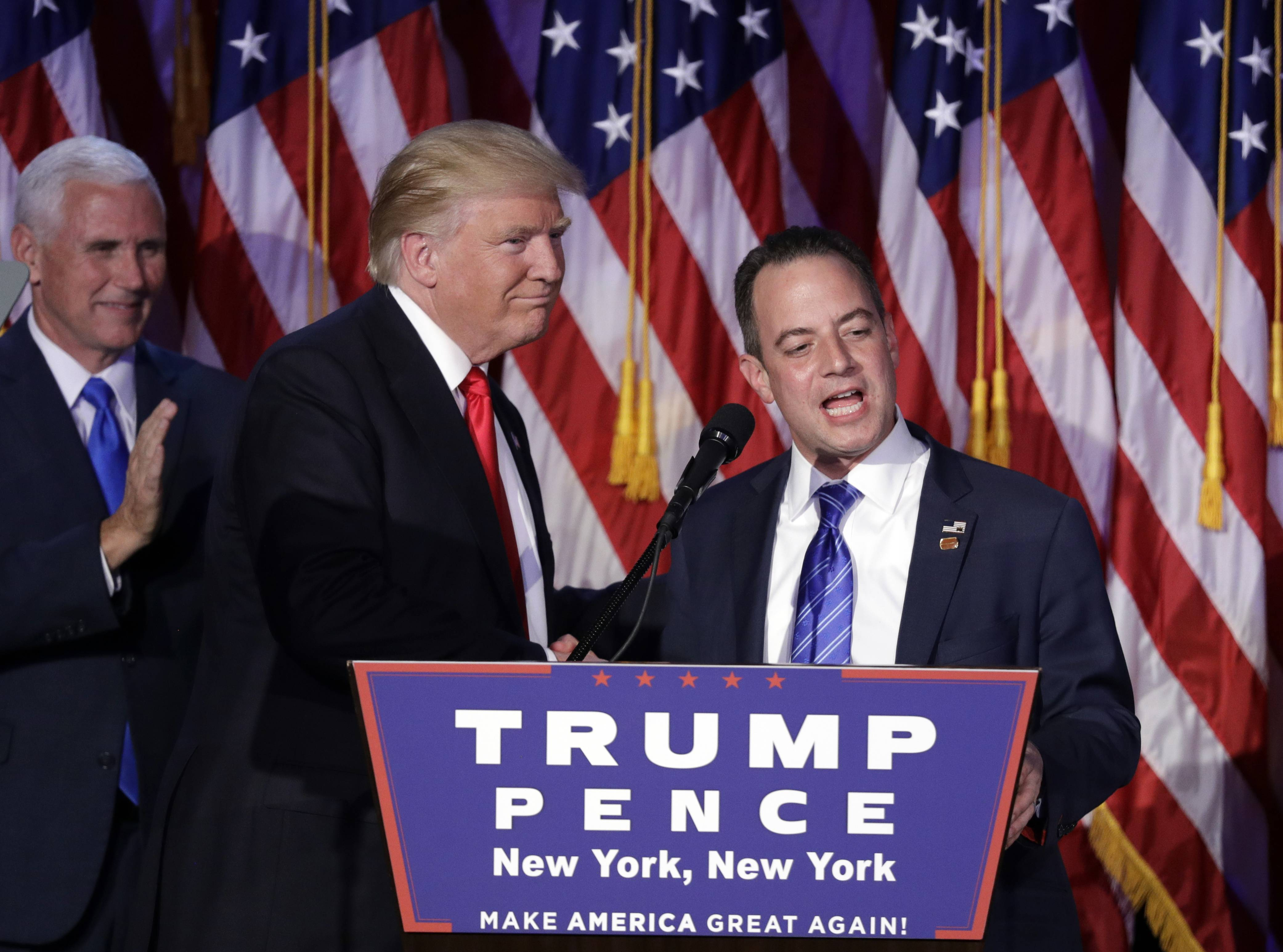In this Wednesday, Nov. 9, 2016, file photo, President-elect Donald Trump, left, stands with Republican National Committee Chairman Reince Priebus during an election night rally in New York. Trump on Sunday named Priebus as his White House chief of staff.