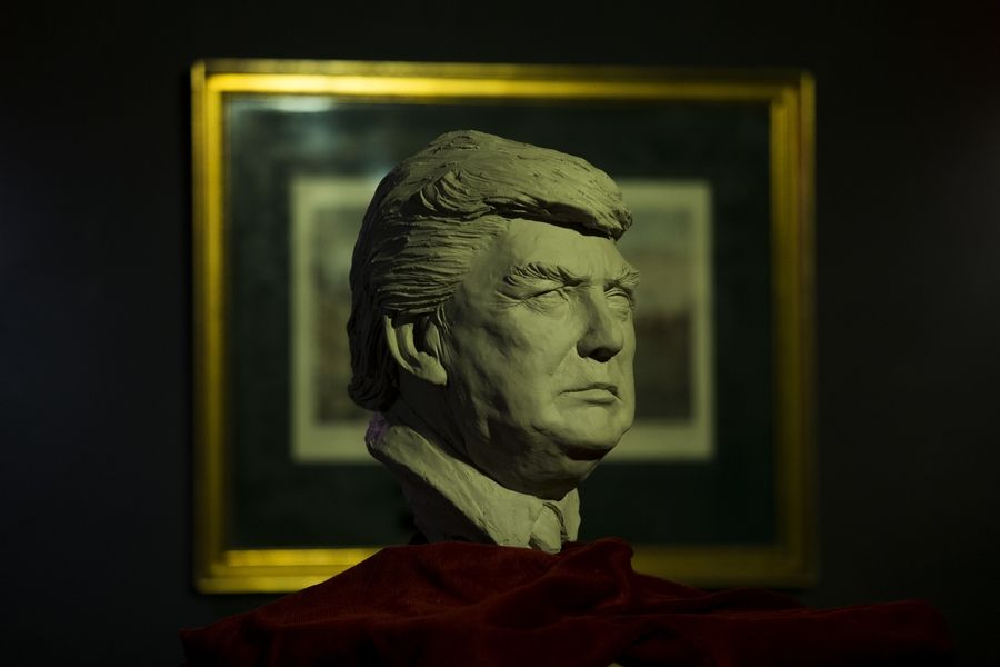 The bust of President-elect Donald Trump is displayed at the wax museum in Madrid, Thursday, Nov. 10, 2016.