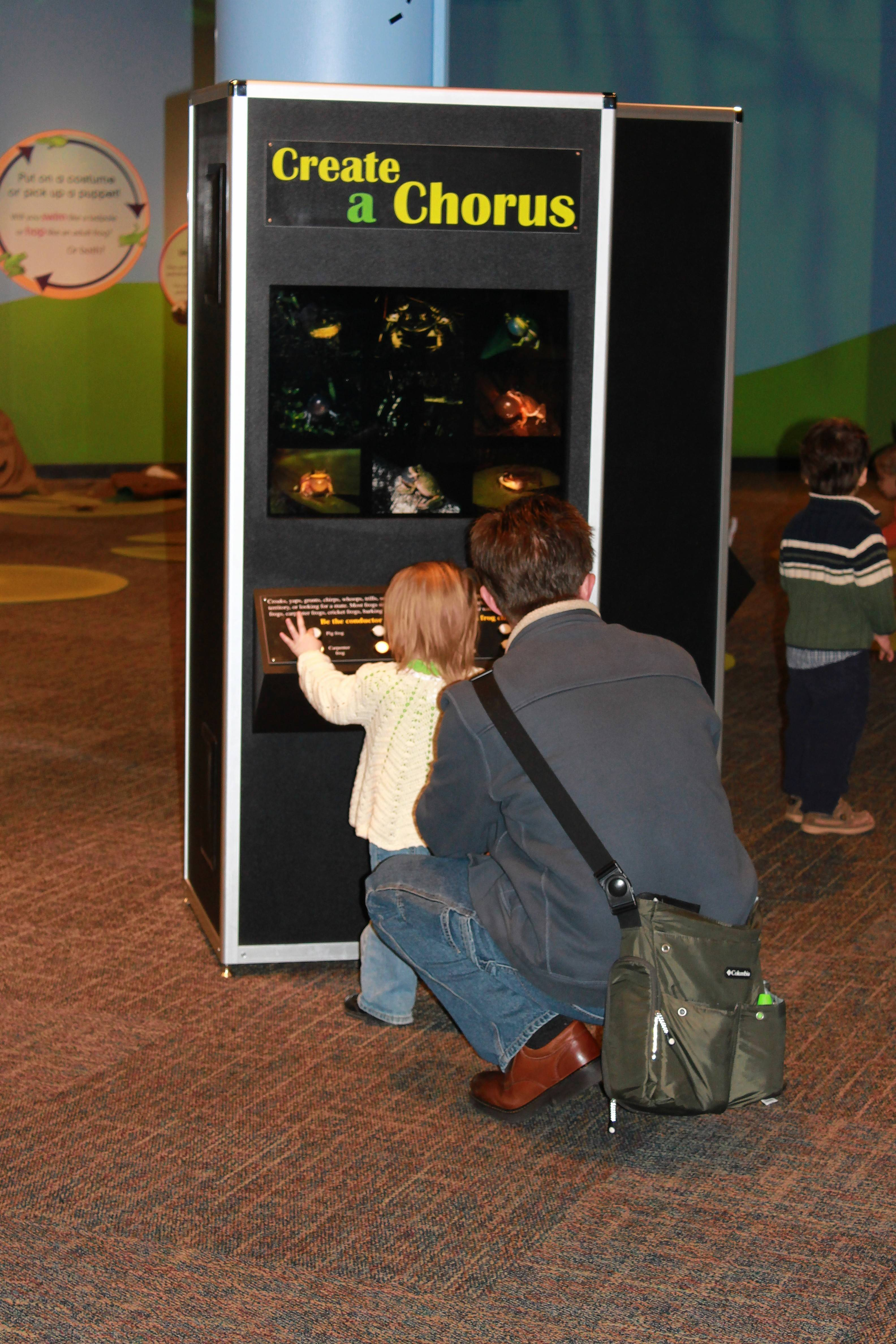 "Hands-on elements are designed to teach kids about frogs at Peggy Notebaert Nature Museum's ""Frogs: A Chorus of Color."""