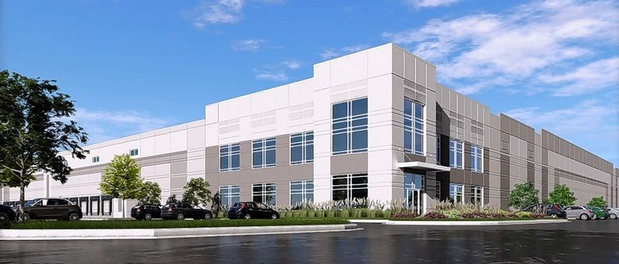 This is a rendering of the new building now under construction by Hillwood at 100 E. Millsdale Road in Joliet.