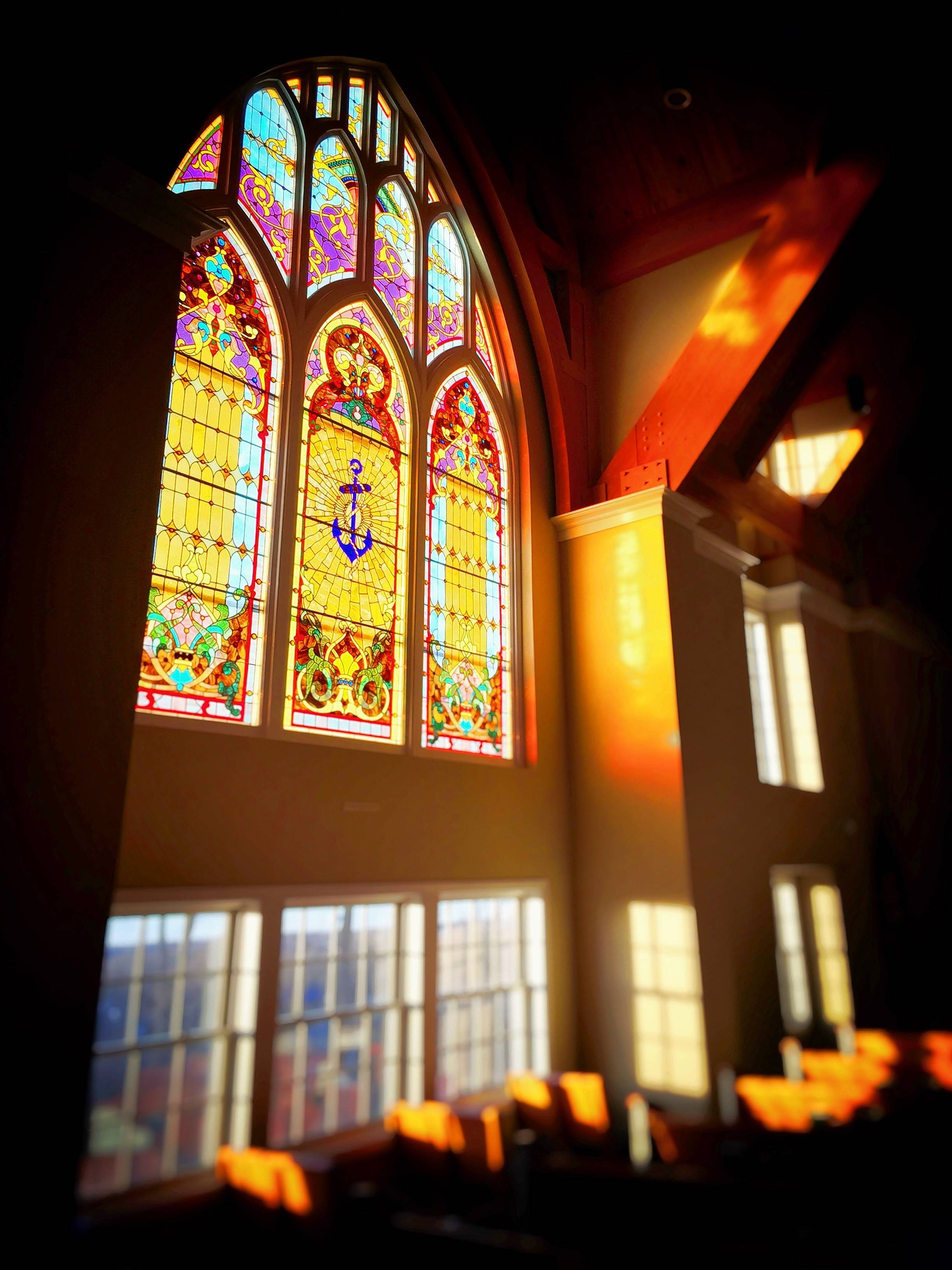 The stained glass windows in the sanctuary of the First Congregational Church of Dundee were moved to the new location on Route 31 from its former building at Fifth and Main streets.