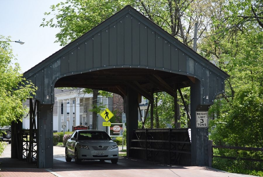 The covered bridge in downtown Long Grove.