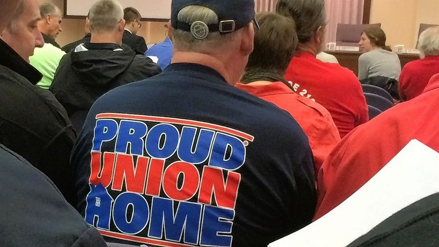 Labor union members filled Lincolnshire's village hall in December 2015 for a debate about a controversial right-to-work ordinance. A lawsuit concerning that ordinance has been settled.