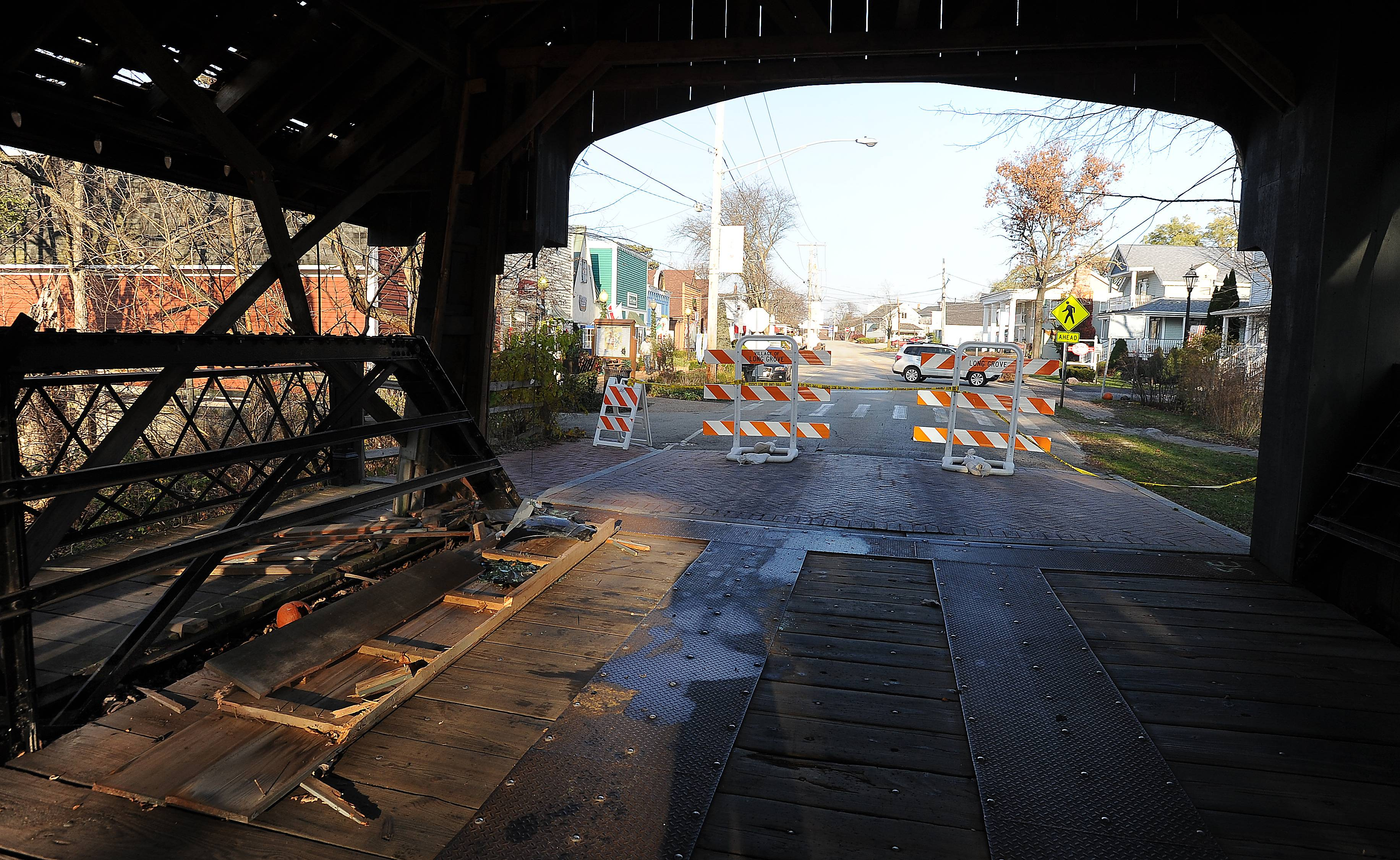 Historic Long Grove covered bridge remains closed for repairs after crash