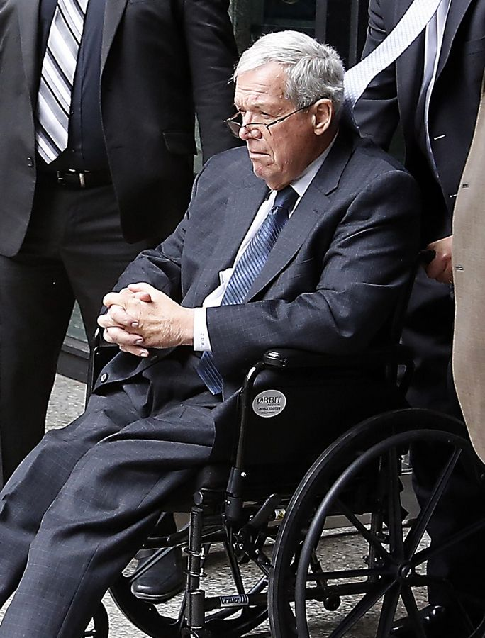 Former U.S. House Speaker Dennis Hastert leaves the Dirksen Federal Building in Chicago in April after being sentenced for structuring cash withdrawals to avoid bank reporting requirements.