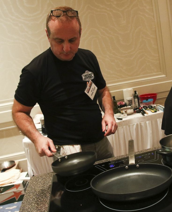 Michael Ek of Bartlett at his cooking station for the finale for the Daily Herald 2016 Cook of the Week Challenge at the Westin Chicago Northwest in Itasca.