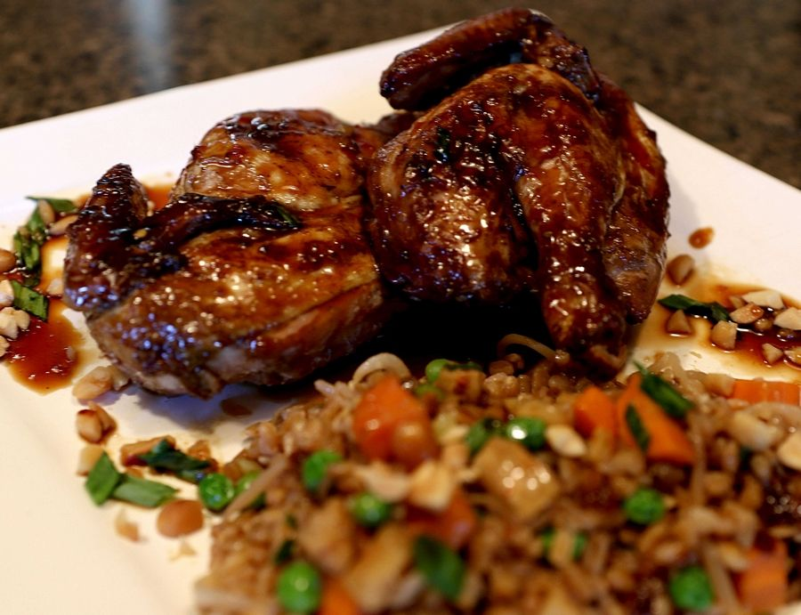 Asian-grilled Cornish Game Hen with a side of Vodka Stir-fried Farro.