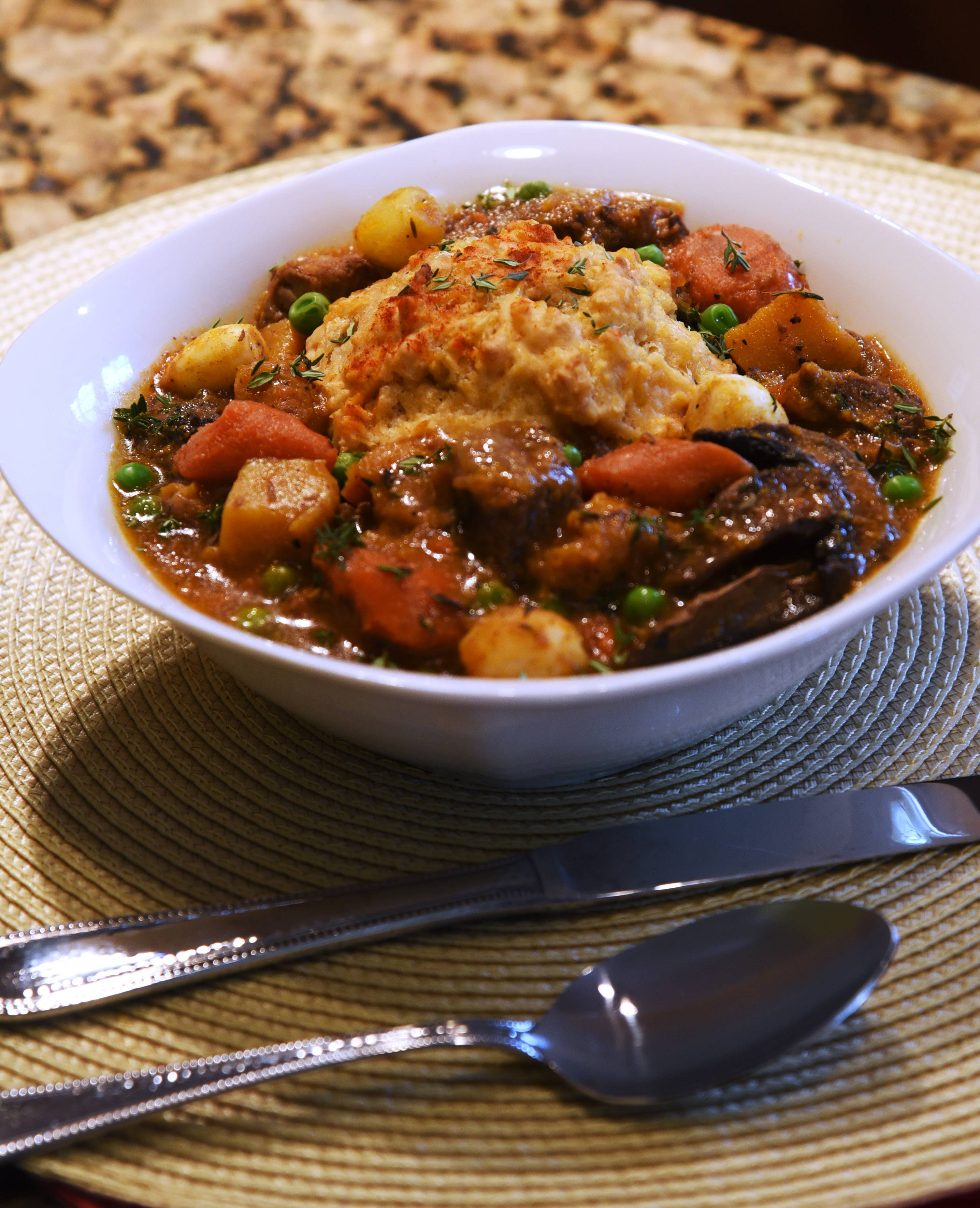 Bourbon, Beef & Dumplings made by Mundelein Cook of the Week Challenge contestant Teresa Fiocchi.