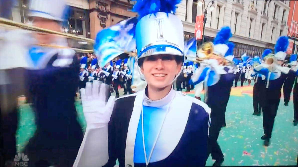 Prospect Marching Knights senior Drum Major Hannah Thornton waves on NBC television as the Prospect High School marching band performs in New York City for the 2016 Macy's Thanksgiving Day Parade.