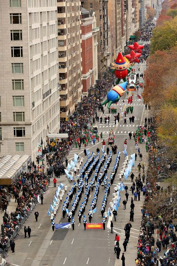 The Prospect High School's Marching Knights perform at the Macy's Thanksgiving Day Parade in New York.