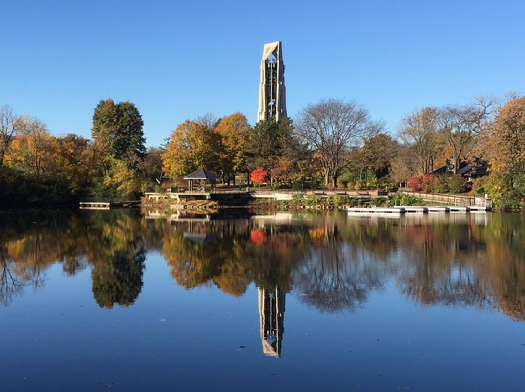 Using my iPhone 6, I took this picture of the carillon in downtown Naperville on a glorious November day. I love the perfect symmetry of the sky and the water. Such a clear day!