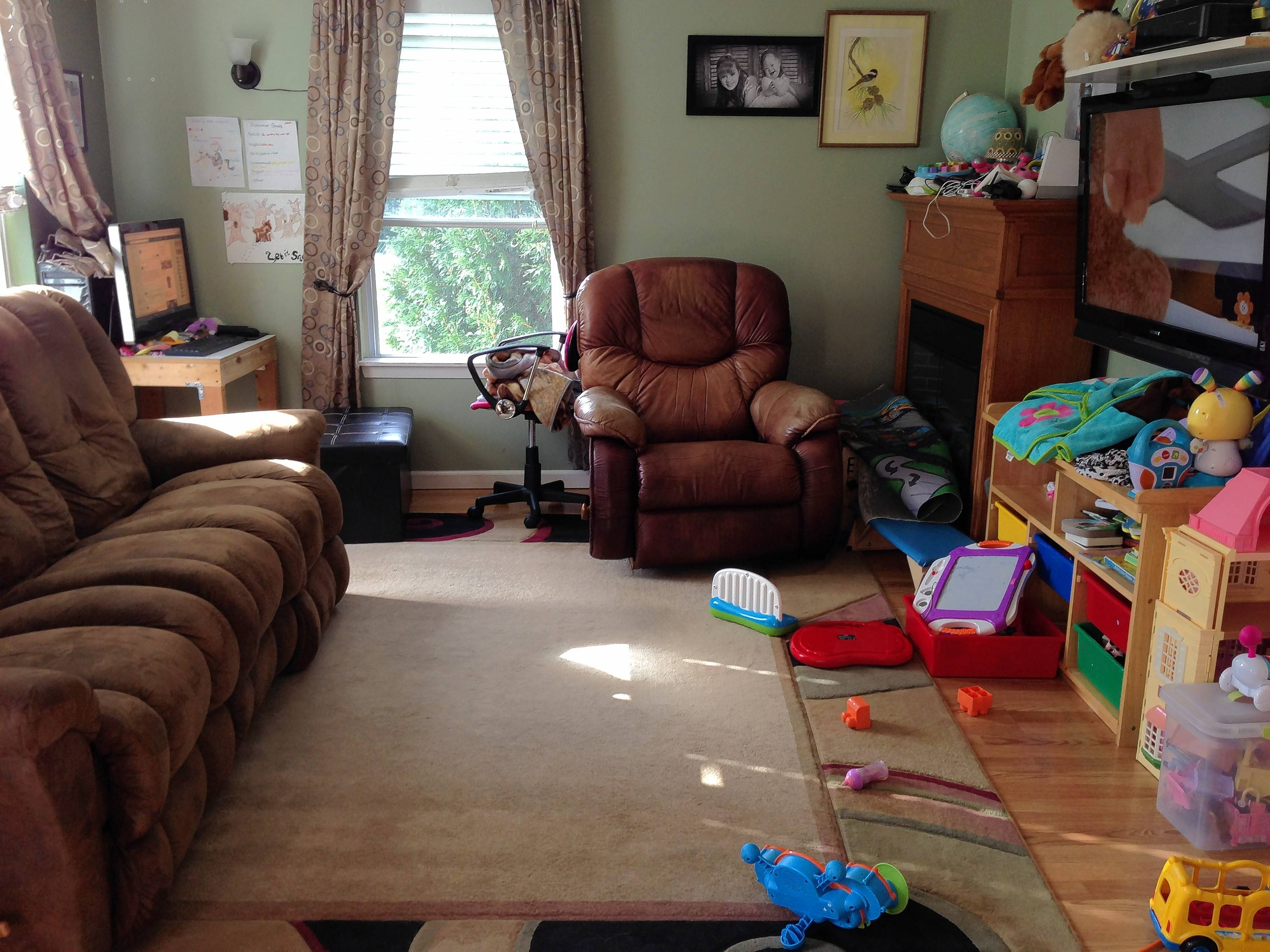 Cindy Walk's cramped living room lacks storage needed to hide away toys.