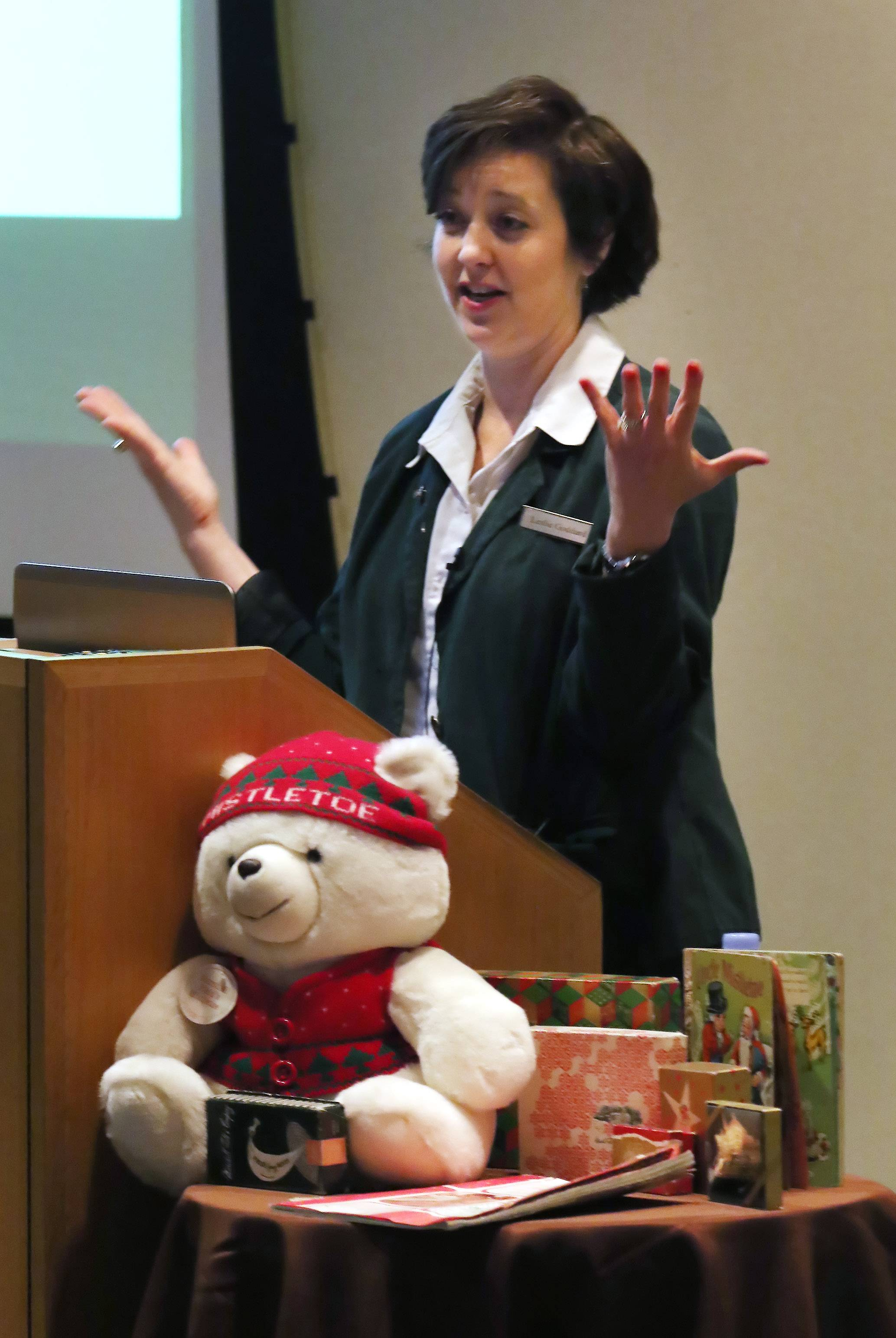 "Author Leslie Goddard discusses the history of Marshall Fields and Co. during ""Remembering Marshall Field's at Christmas"" in Schaumburg."