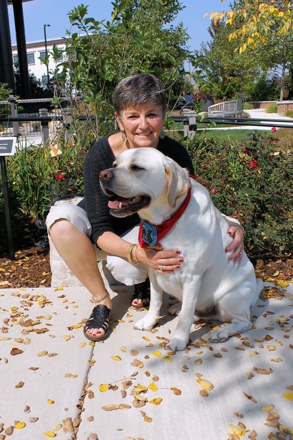 Cathe Keres of Lake Bluff visits hospice patients with her certified pet therapy dog, Clancy.